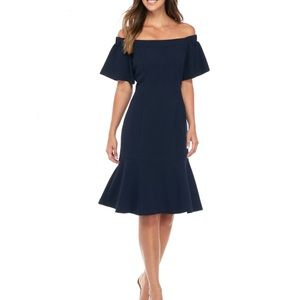Vince Camuto Navy Blue Off the Shoulder Dress Sz 4